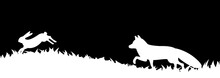 Silhouette Of Fox And Hare In The Grass.