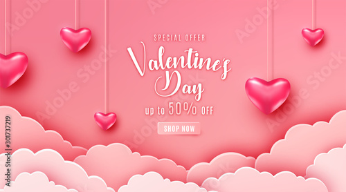 Obraz Happy valentines day greeting background in papercut realistic style. Paper clouds, flying realistic heart on string. Pink banner party invitation template. Calligraphy words text sign on copy space - fototapety do salonu