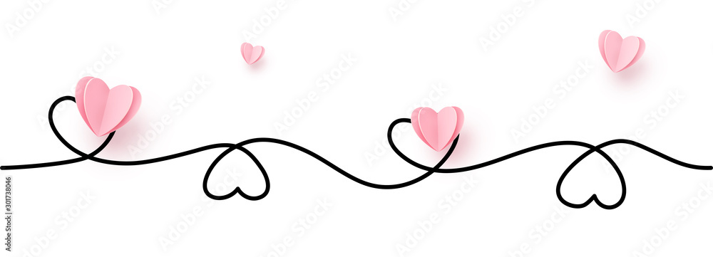 Fototapety, obrazy: Continuous line heart shape border with realistic paper heart on white background for valentines, women, mother day greeting invitation graphic design