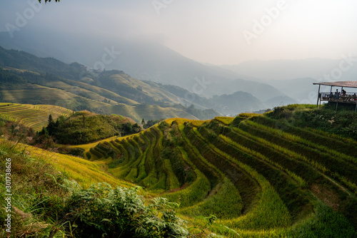 Foto auf Gartenposter Reisfelder Longji Rice Terraces in China Sunrise view