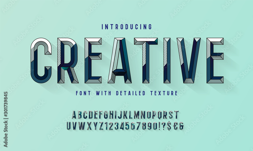 Fototapeta Chiseled block letters. Vector of modern bold font and alphabet. Vintage Alphabet vector 80's, 90's Old style graphic set. Retro Chiseled Alphabet Vector Font. Type letters, numbers.