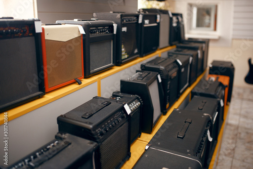 Photo Sound combo amplifiers on showcase in music store
