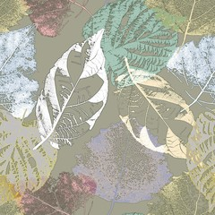 Fototapeta Liście Seamless floral pattern. Delicate colorful leaves on a gray background. Autumn motives.