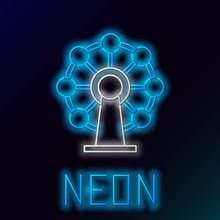 Blue Glowing Neon Line Ferris Wheel Icon Isolated On Black Background. Amusement Park. Childrens Entertainment Playground, Recreation Park. Colorful Outline Concept. Vector Illustration