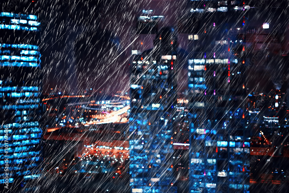 Fototapeta autumn rain background city / October background with raindrops in the city, abstraction blurred seasonal background of autumn