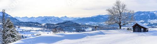 Ausblick auf die Allgäuer Alpen im Winter Billede på lærred