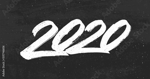 Fotografía Happy New Year 2020 greeting card design with typography text on black chalkboard background