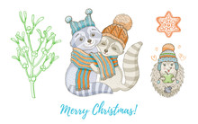 Christmas Doodle Raccoon Animal, Mistletoe Branch Set. Cute Watercolor Hand Drawing Collection For Poster, Greeting Card, Design Element. Vintage Graphic, Vector Illustration Isolated White Background