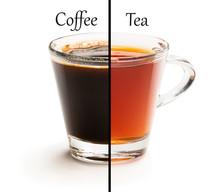 Cup Split In Half. Tough Choice Tea Vs Coffee Concept