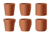 Set Of Realistic Brown Ceramic...