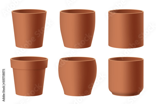 Set of realistic brown ceramic flower pots