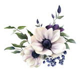 Picturesque arrangement of anemones, berries and clematises hand drawn in watercolor isolated on white background. Watercolor illustration. Ideal for creating invitations, greeting and wedding cards