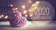 canvas print picture - New Year 2020 message with a pink heart with heart shaped lights