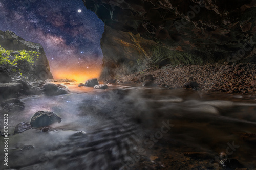 Montage in der Fensternische Forest river Landscape of stream that flows from the cave to the waterfall with beautiful night sky milky way.