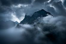 Tatras High Mountain Pass In Gramatic Atmosfere.