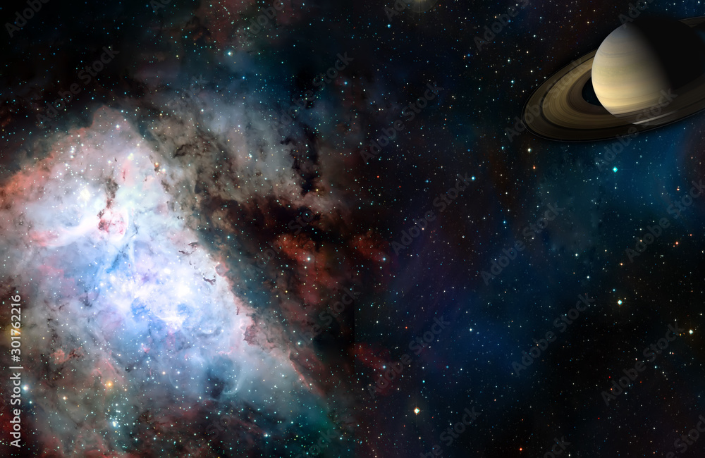 Fototapety, obrazy: Space cosmic landscape of planet nebula and stars field