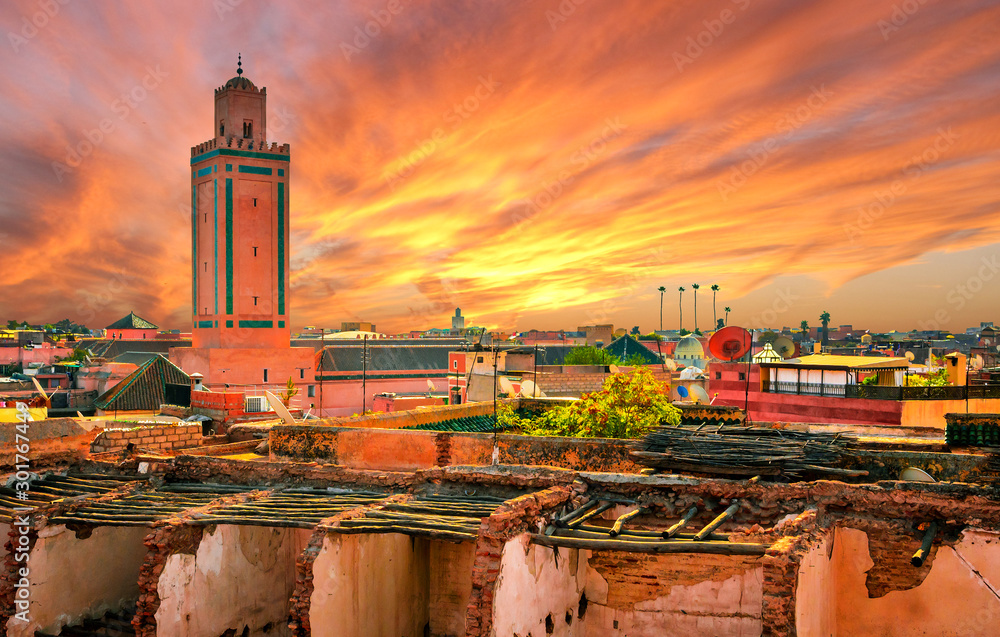 Fototapety, obrazy: Panoramic sunset view of Marrakech and old medina, Morocco