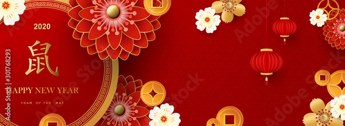 Stampa su Tela Bright banner with Chinese elements for 2020 New Year