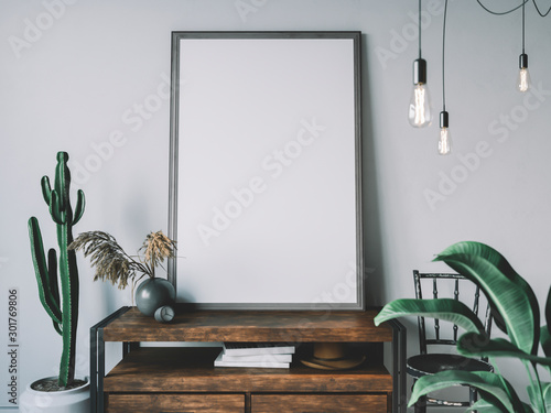 Obraz Empty poster frame in cozy interior. Frame mockup. - fototapety do salonu