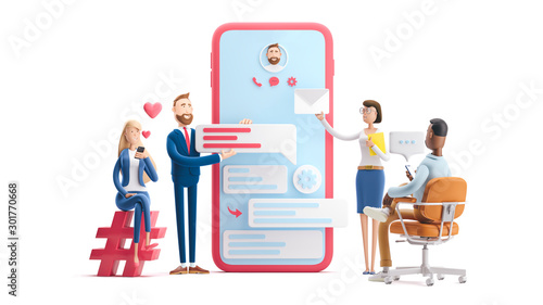 Application development and social media concept. 3d illustration. Cartoon characters. Business teamwork concept on white background.