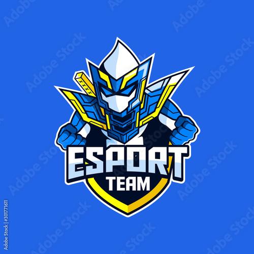 Ninja Warrior Knight e-sport game team logo designs Fototapet