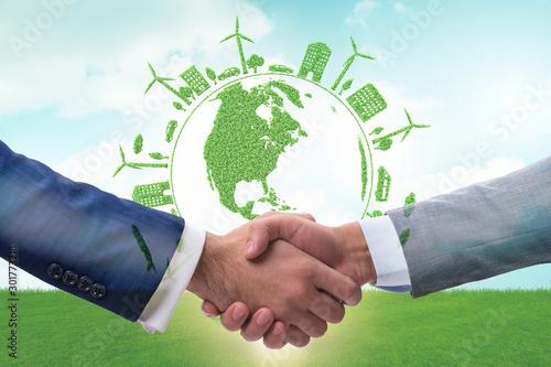 Fototapeta Paris agreement concept in ecology and environment obraz