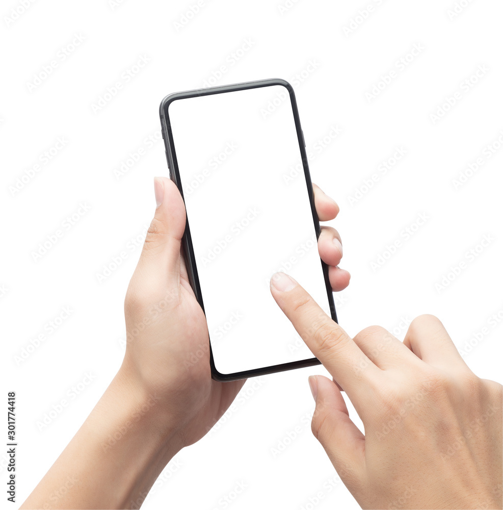 Fototapeta Male hand holding the black smartphone and touching on blank screen isolated on white background with clipping path.
