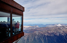 Viewpoint. Tourists On Top Of The Aiguille Du Midi Mountain. Alps, France.