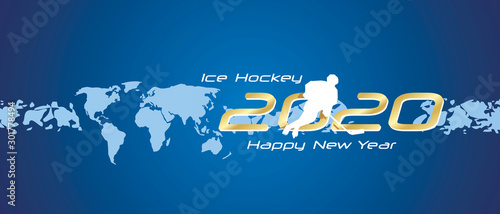 Ice Hockey 2020 Happy New Year gold white silhouette logo icon abstract world ma Wallpaper Mural