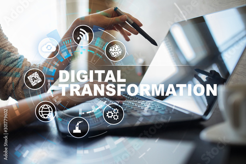 Fotomural  Digital transformation, Concept of digitization of business processes and modern technology