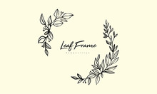Dry Leaf Composition Arrangement For Wedding Invitation Design, Plants And Flowers For Elegant Lettering Frame, Hand Drawn Vector Lineart Illustration For Romantic And Classic Design