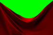 canvas print picture - Red fabric pulled to the side with green screen background.