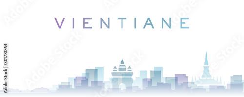 Vientiane Transparent Layers Gradient Landmarks Skyline Fototapete