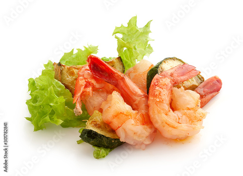 Photo  Fried shrimps with zucchini