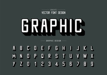 Font And Alphabet Vector, Shadows Typeface And Letter Number Design, Graphic Text On Background
