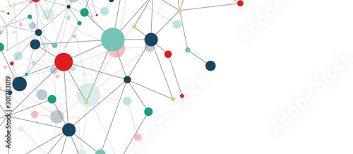 Fototapeta Line points connections geometric abstract background. obraz na płótnie