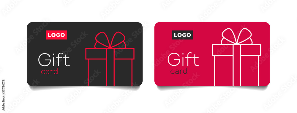 Fototapeta Loyalty card, incentive gift, collect bonus, earn reward, redeem gift, win present, vector mono line icon, linear illustration, outline design