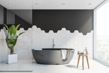 Black And White Tile Bathroom ...