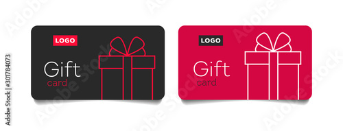 Loyalty card, incentive gift, collect bonus, earn reward, redeem gift, win present, vector mono line icon, linear illustration, outline design