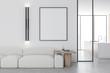 Leinwanddruck Bild - White living room with sofa and poster