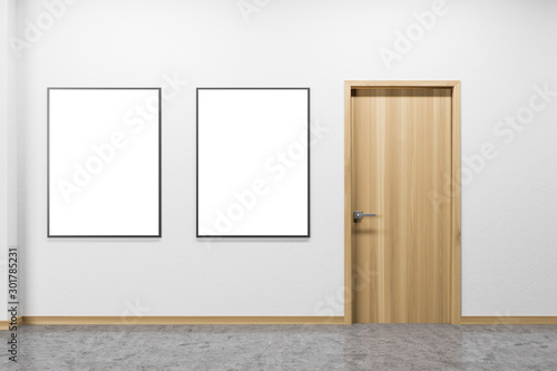 Empty white room interior with posters and door Canvas Print