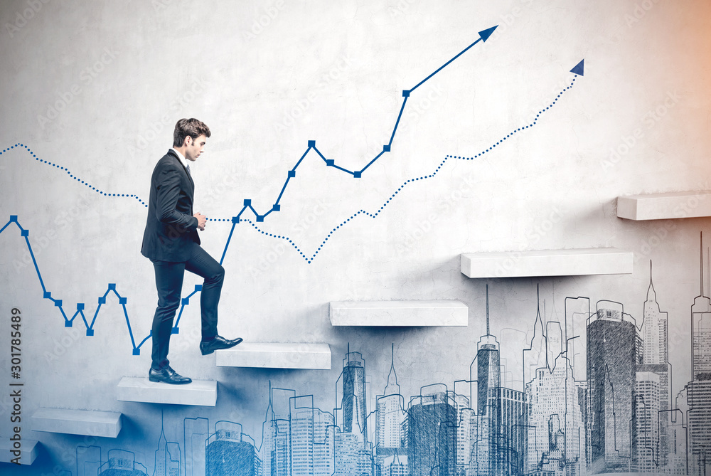 Fototapety, obrazy: Man climbing stairs, business growth