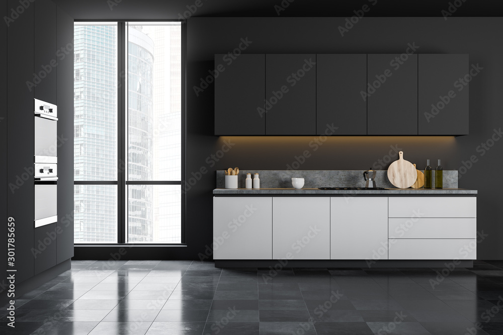 Fototapety, obrazy: Gray kitchen interior with white counters