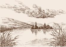 Lake Landscape Sketch, Water V...