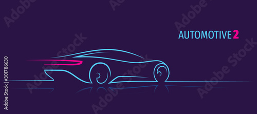 Modern car minimalistic line illustration. Car outline. Dark background. Text outlined.