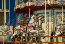 Vintage Carousel Horses. Two Horses On A Vintage Carousel