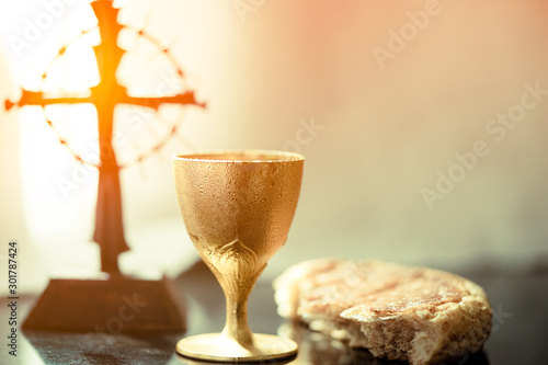 Obraz na plátně Holy communion on wooden table on church
