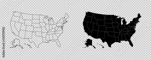 United states map. High detailed USA map. Linear icon. Transparent background. Vector isolated elements. Usa map icon line symbol.