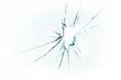 Leinwandbild Motiv broken and cracked glass with hole