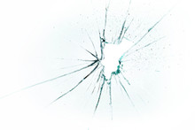 Broken And Cracked Glass With Hole